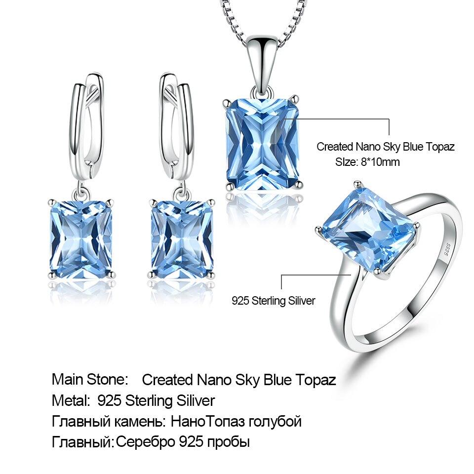 Ensembles de bijoux de mariage en topaze bleu ciel UMCHO pour femmes 925 bagues de fiançailles en argent Sterling collier pendentif Clip boucles d'oreilles - 6