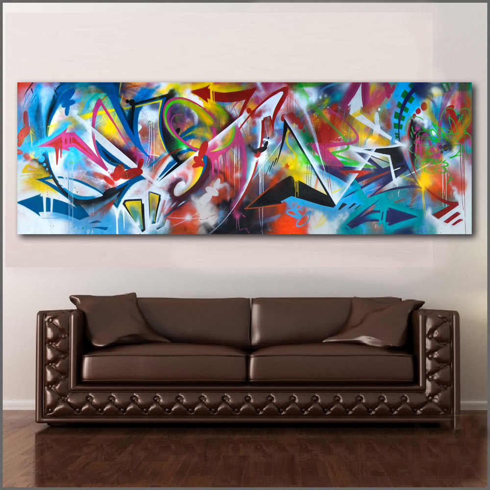 Large size Street Graffiti Art Painting Wall Art Oil Paintings Abstract Picture Home Decor Canvas Print For Living Room No Frame