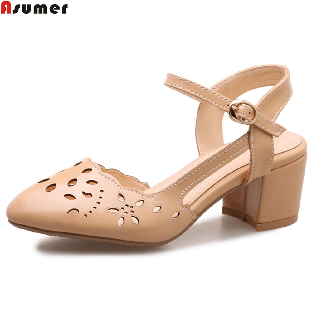 ASUMER white yellow fashion spring autumn ladies single shoes round toe buckle casual women med heels shoes plus size 32-46 asumer gold silvery fashion square toe buckle ladies single shoes spring autumn women high heels shoes big size 32 44