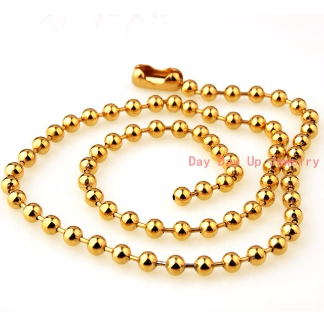 6mm Top Design Polished 316l Stainless Stee Gold Bead Ball Chain Mens Boys Necklace Bracelet