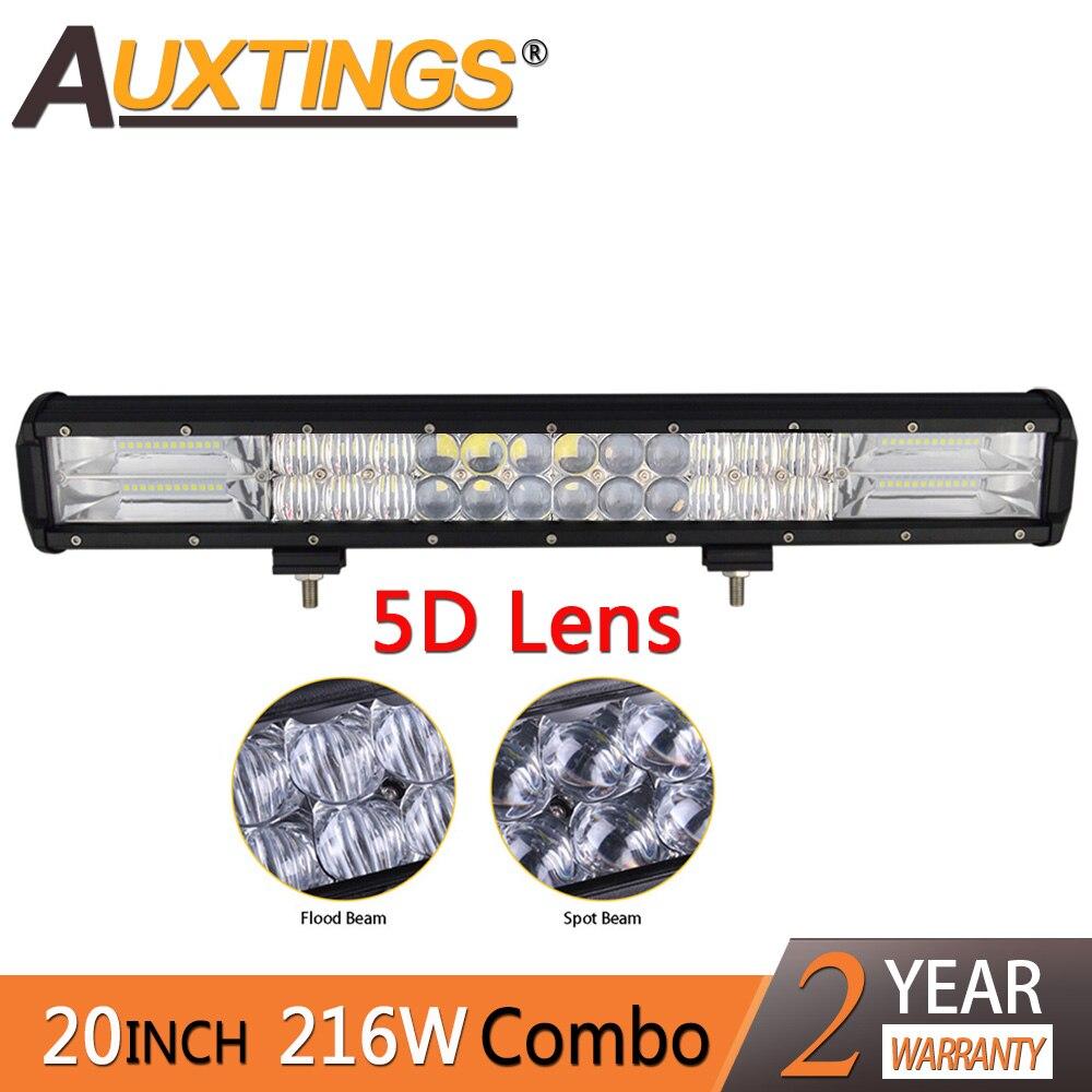Auxtings Combo Faisceau 20 pouces 216 w Double Rangées IP67 Étanche De Voiture barre de led 5D lumière led Bar Pour camion jeep Voiture lampe à led pour Auto