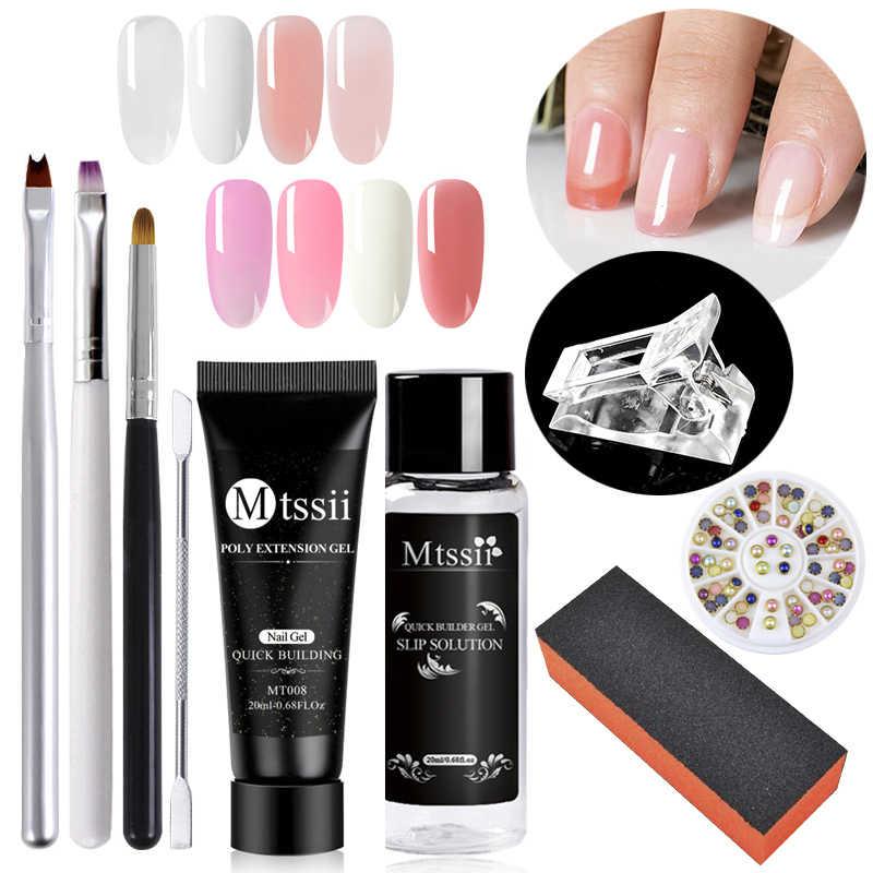 Mtssii juego de Gel de extensión de uñas de polietileno de acrílico para uñas cristal transparente blanco rosa UV LED Builder Gel consejos de solución de deslizamiento rápido extensión