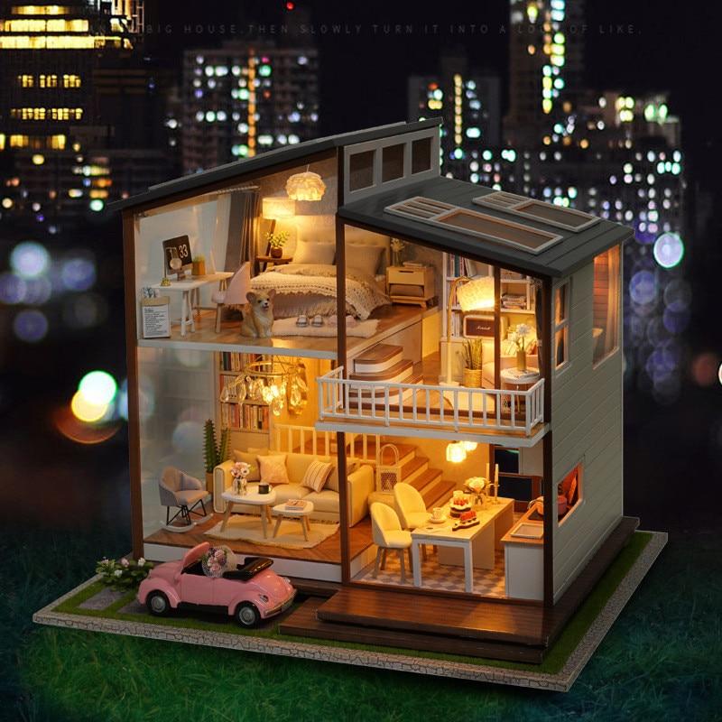 Casa para muñecas Diy Kit de casa de muñecas LED funda de madera Delle Bambole Grande casa de muñecas de tiempo lento niñas grandes Juguetes regalos-in Muñecas de porcelana from Juguetes y pasatiempos    2