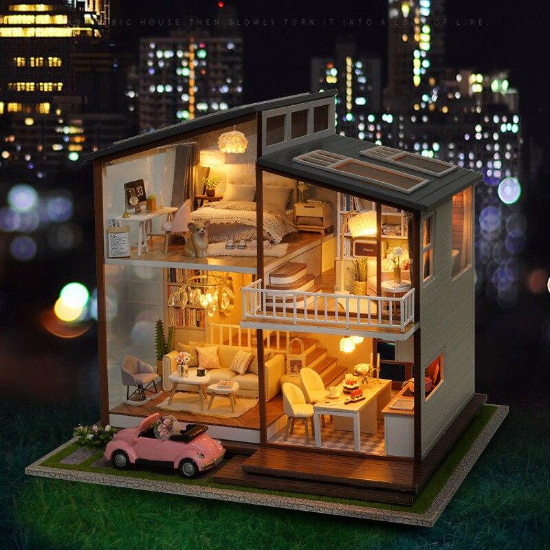 Maison pour poupées bricolage Miniature Kit maison de poupée LED caisse en bois Delle Bambole Grande lente temps maison de poupée grands Juguetes filles cadeaux-in Poupée Maisons from Jeux et loisirs    2