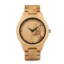 BOBOBIRD D28 Natural Bamboo Wood Watches With Deer Head Engrave Dial With Bamboo Strap For Gift
