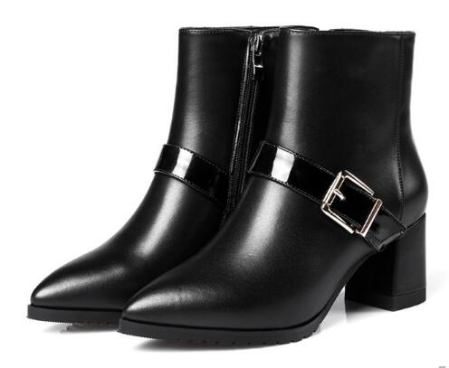 Spring and autumn women black pointed toe medium heel ankle boots Fashion solid buckle decorated chunky heel short boots цена 2017