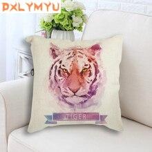 Tiger Wolf Linen Cushion Cute Pillow Sofa Waist Throw Watercolor Animal Decorative for Home Car Decor