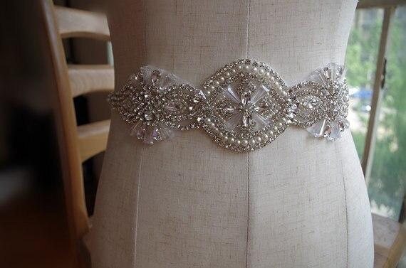 Branello della perla da sposa sash applique qualità superba glass