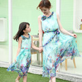 2017 mother and daughter summer clothes family matching outfits mum girl beach Bohemian sleeveless floral chiffon maxi dresses