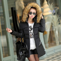 Winter Womens Long Down Cotton Parka Big Fur Collar Hooded Coat Quilted Jacket