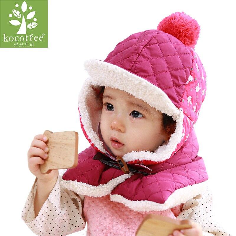 Kocotree Winter Baby Hat Scarf Kids Girls Boys Warm Woolen Coif Hood Scarf Caps 2019 New Good Quality Pom Pom Hats