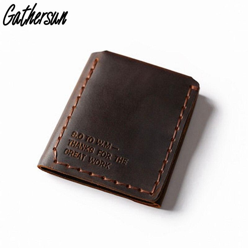 Купить с кэшбэком Trifold Genuine Leather Wallet Men Handmade Crazy Horse Leather Purse Men's Short Vintage Wallet with Coin Pocket