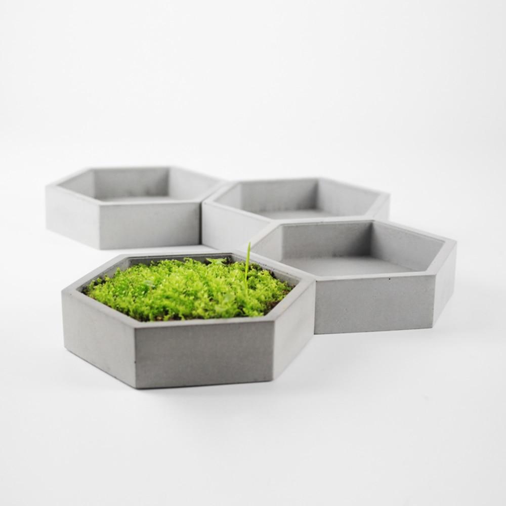 Hexagon concrete flower pot molds without hole DIY garden pot moulds Dwarf flowerpot