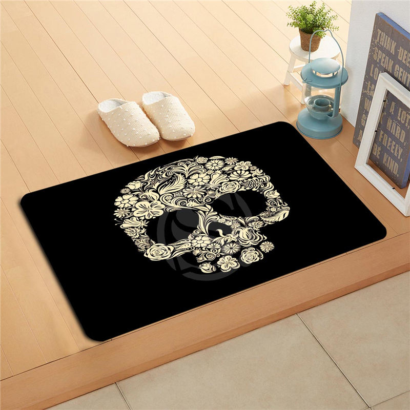 Gf R230 Custom Flower Skull Doormat Home Decor Door Mat Floor Mat Bath Mats Foot Pad Ds