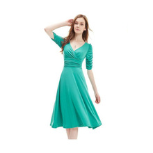 Frill Dress Vintage Style Robe Vintage Dresses 50s 60s Deep V Sexy Silm Waist Candy Solid 2017 Designer Dress Runway Plus Size