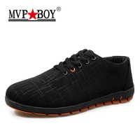 MVP BOY Spring Summer Men Shoes Breathable Mens Shoes Casual Fashion Low Lace Up Canvas Shoes