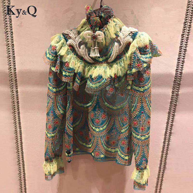 Runway Designer Vintage Green Ruffles   Blouses     Shirt   Women Summer Autumn Embroidery Long Sleeve Lace Print Female Chiffon Clothes