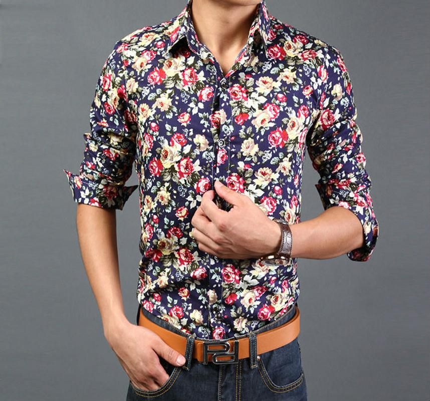 86e4982a9295 2015 Floral Shirts Men Slim Fit 14 Types Printed Dress Shirt Long Sleeves  Turn down Collar NW513-in Casual Shirts from Men s Clothing on  Aliexpress.com ...