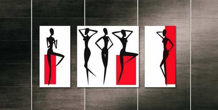 3 piece free shipping modern wall oil painting black white red african women figure wall art
