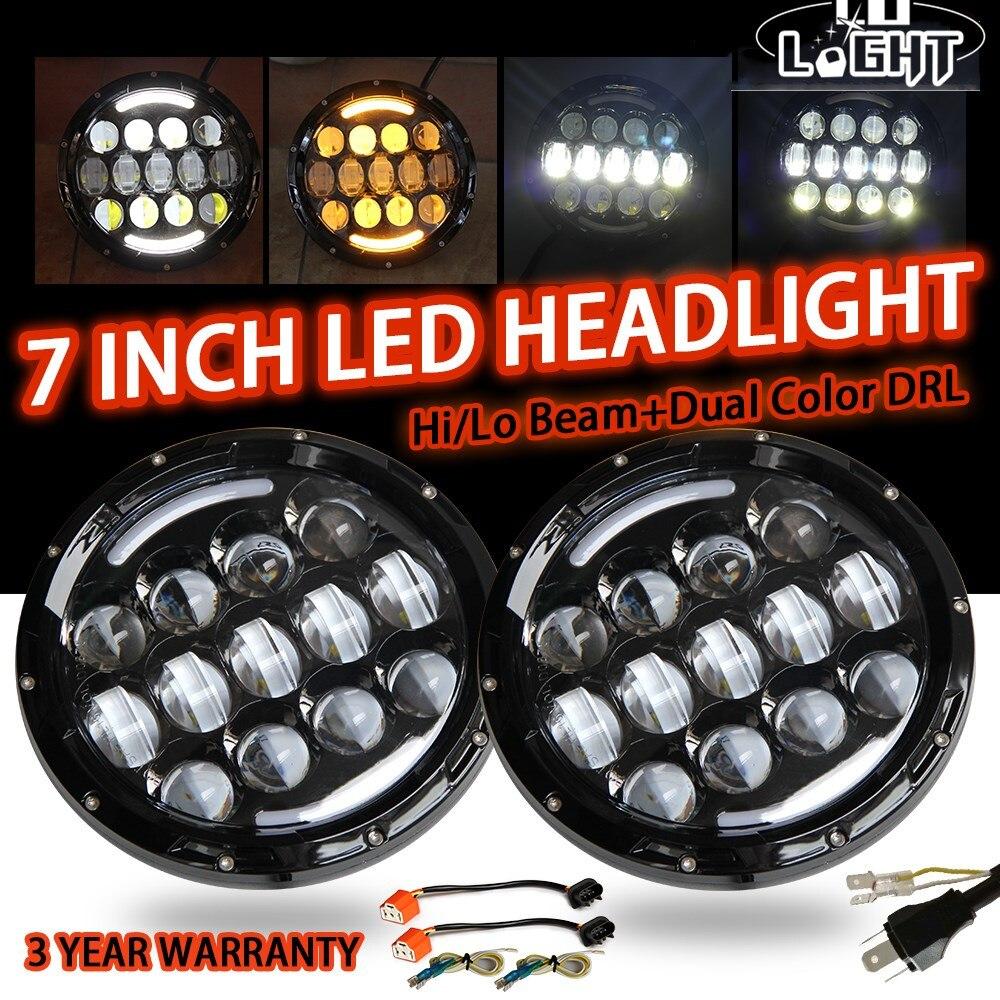 CO LIGHT 7 дюймов головной свет 105 Вт angel eyes Белый Drl Янтарный указатель поворота 9-В 30 В для Lada 4X4 Urban Niva Uaz Hunter Offroad