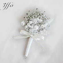 Iffo European & American style high-end custom brooch lace Pearl crystal groom jewelry corsage Wedding Men's boutonniere