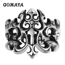 GOMAYA Dragon Flame Rings for Men 316L Stainless Steel Hollow Biker Fashion Personality Punk Male Aneis Masculino