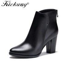 Kickway Nova 2018 Ankle Boots para mulheres sapatos de inverno botas de salto alto botas femininas botas de couro Genuíno sapatas das senhoras mulher