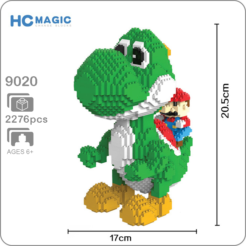 Super Mario Yoshi Green Dragon Monster 3D Model 2276pcs DIY Mini Diamond Building Nano Blocks Brick Assembly Toy Gift CollectionSuper Mario Yoshi Green Dragon Monster 3D Model 2276pcs DIY Mini Diamond Building Nano Blocks Brick Assembly Toy Gift Collection