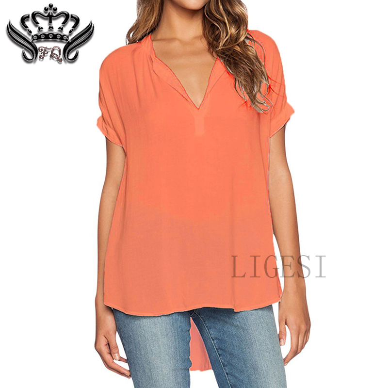 Women's Plus Size   Blouses   Short Sleeve Casual V-Neck   Blouse     Shirt   Women Tops Summer 2018 Elegant Womens Clothes Chemisier Femme