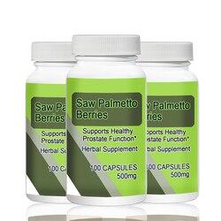 Bayas de sierra Palmetto 500mg 100 Uds X 3 botellas en Total 300 Uds. Soporta una función prostática saludable *