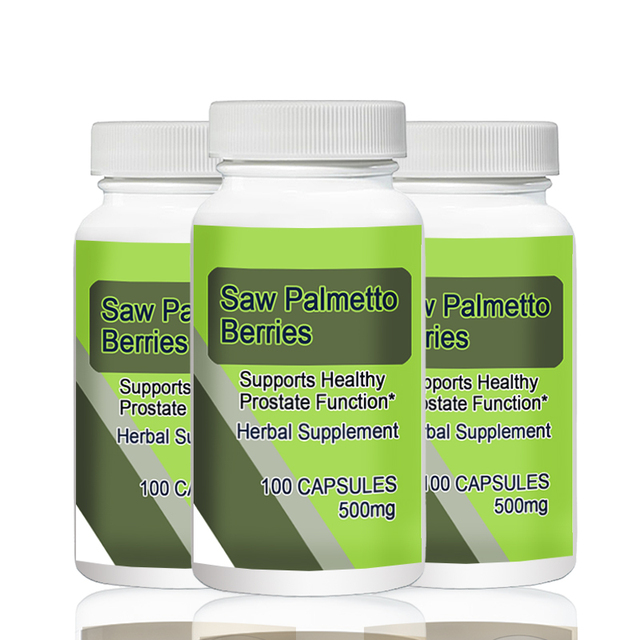 Saw Palmetto Berries   500mg 100pcs   X 3 Bottles Total 300PCS  Supports Healthy Prostate Function*
