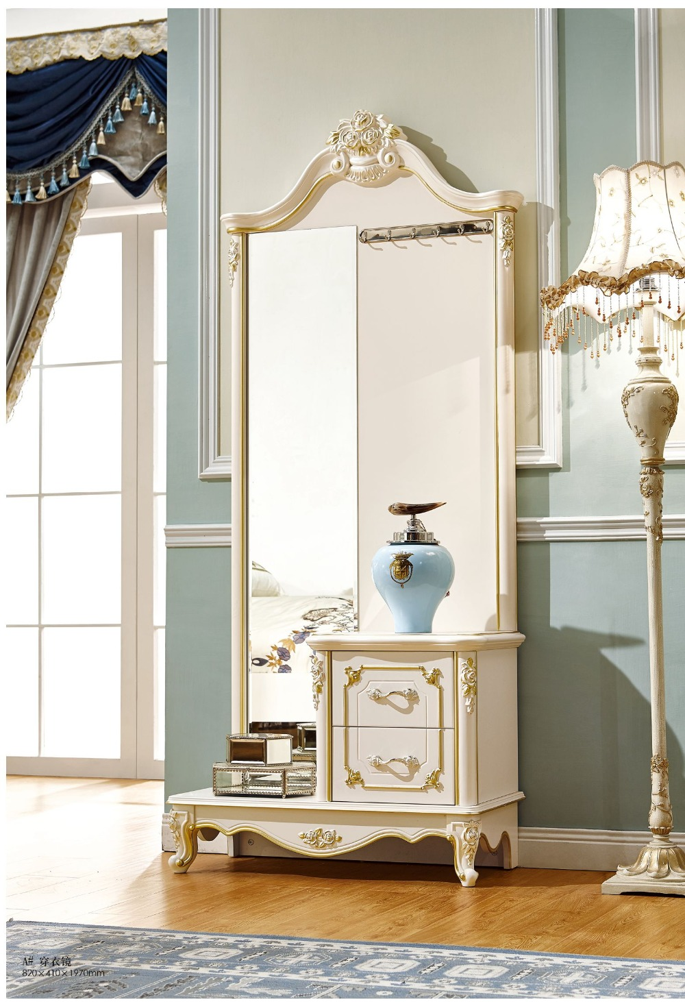 hermoso estilo europeo tallado espejo de tocador con cajn para el dormitorio con glod