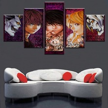 Home Decorative Animation Picture Modular Framework 5 Pieces Death Note Character Poster Modern Wall Art Painting On Canvas