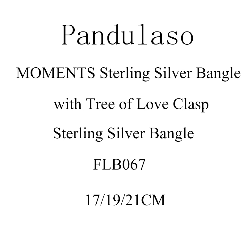 Pandulaso MOMENTS Sterling Silver Bangle with Tree of Love Clasp Bangle For Woman DIY jewelry making Fit European Beads & Charms