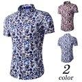 2016 Ney Marca Mens ropa Hawaiano Camisa Masculina camisa masculina Moda flores Impreso Playa Ocasional Homme Camisas de Manga Corta