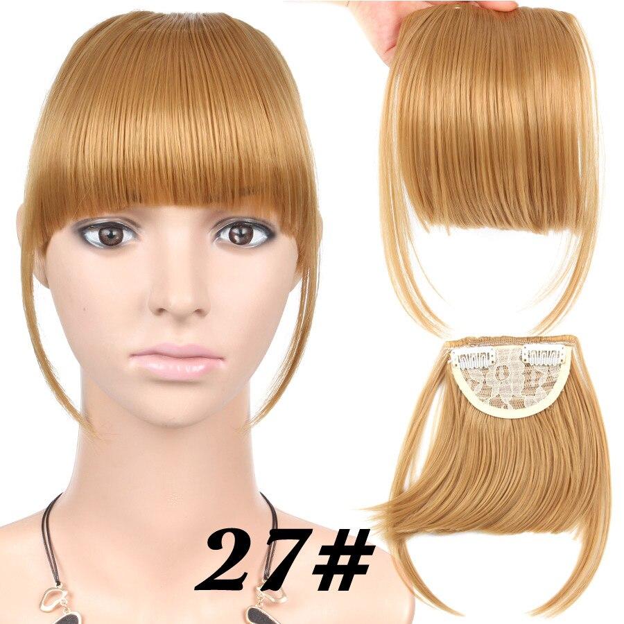 Alileader короткие передние аккуратные челки поддельные бахрома клип в наращивание волос с высокой температурой синтетическое волокно черный коричневый блонд - Цвет: 27