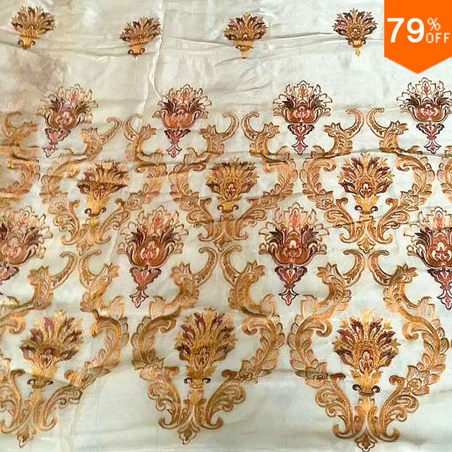 Jacquard Gold Romantic tull Golden lace Voile Transparent door curtain window curtain living room sheer curtains tulle curtains