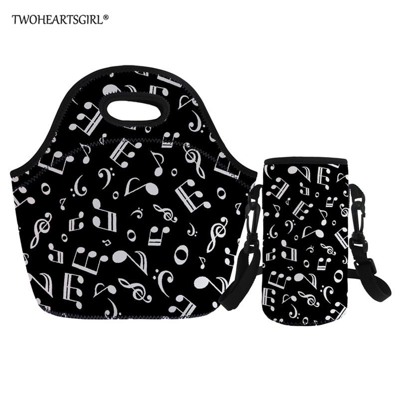 Twoheartsgirl Tote Thermal Neoprene Bag Music Note Print Beach Lunch Bag Food Picnic Bolsa Termica Women Kid Men Cooler Bag