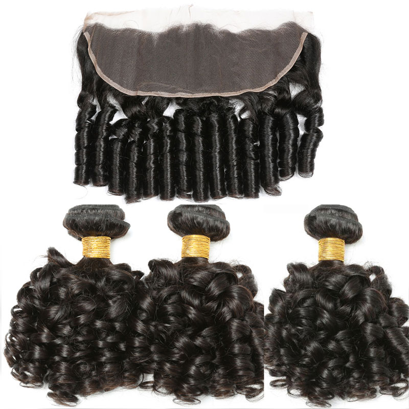 Bouncy Curly Hair Bundles with Frontal 3 4 Bundles Fummi Hair with Frontal Remy Human Hair