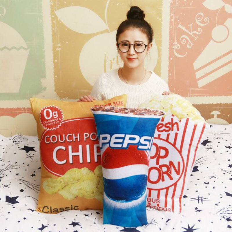 2017 New Design Pepsi Popcorn Decorative Cushion Throw Pillow With Inner Home Decor Sofa Emulational Toys No Zipper