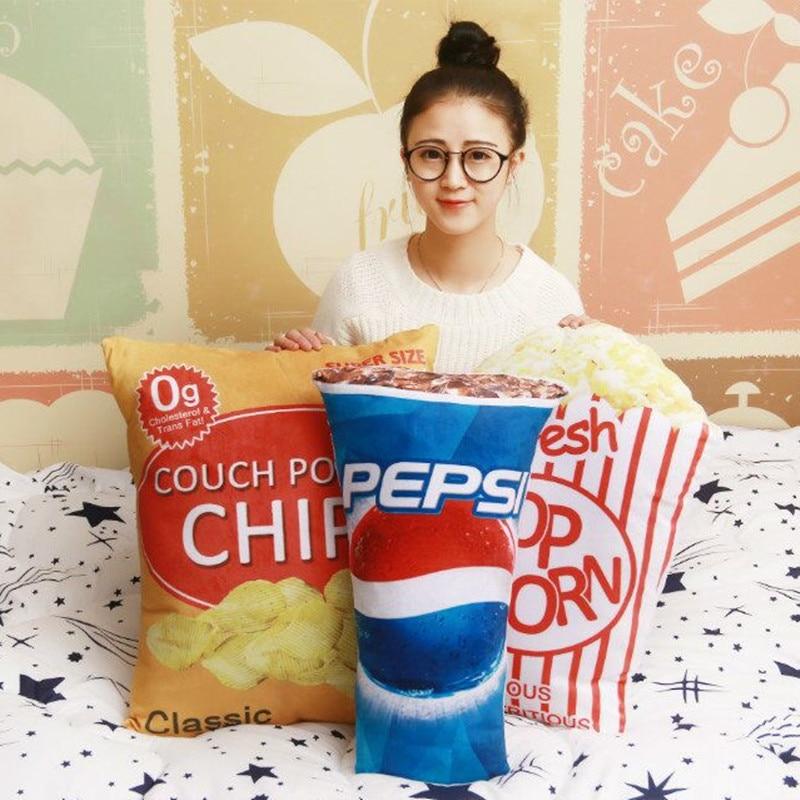 2017 Nieuw Ontwerp Pepsi Popcorn Decoratief Kussen Sierkussen Met Innerlijke Decor Sofa Emulational Speelgoed Geen Rits