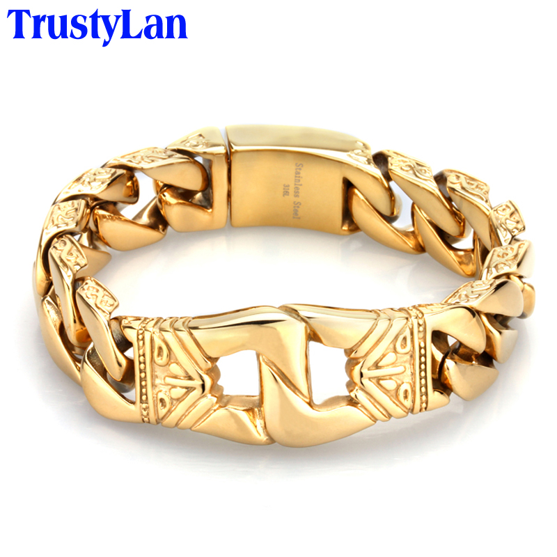Aliexpress Com Trustylan 18mm Wide Gold Color Bracelet Mens Bracelets Brand New Jewellery Stainless Steel Men S Wristband From