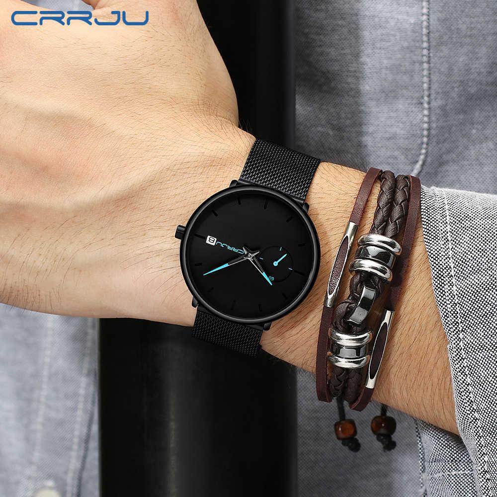 Bajan kol saati CRRJU nowy mężczyzna kobiet kwarcowe zegarki luksusowe Sport Ultra cienki zegarek na rękę moda męska na co dzień zegarek z datownikiem zegar na prezent