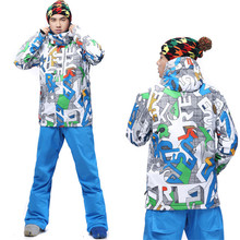 2016 gsou snow ski suits men jackt and pants skiwear windproof warm water thickening snow suits free shipping