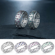 Huitan Trendy Ring Band With Tiny Cubic Zircon Birthday Present Classic Jewelry Simple Stylish  Hollow out Design