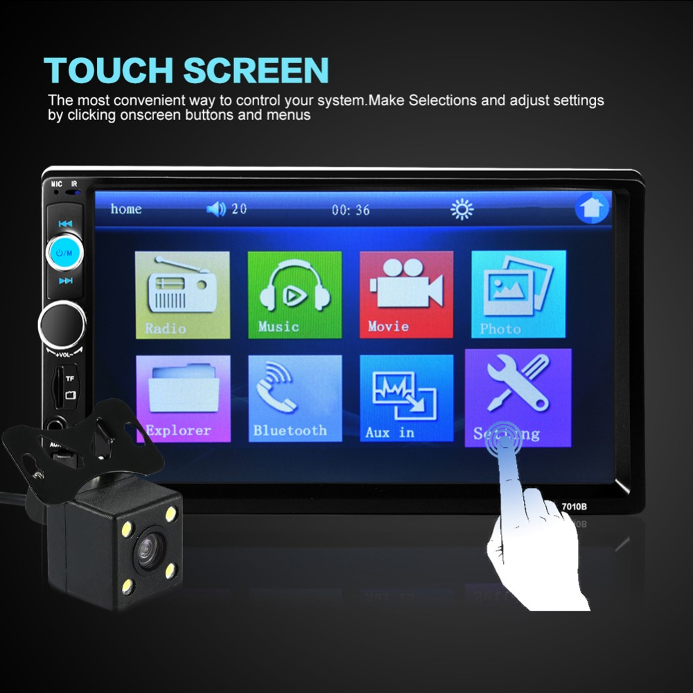 ФОТО 7010B 7 Inch 2 DIN Touch Screen HD Car Radio MP5 Player Support TF/FM/USB/AUX/Bluetooth Video Audio Player + Rear View Camera