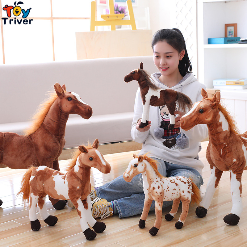 Plush Simulation Horse Toy Stuffed Animal Zebra Doll Black White Horses Baby Kids Birthday Gift Home Shop Decor Triver stuffed animals pony zebra doll plush simulation horse toy children gifts toys home decoration