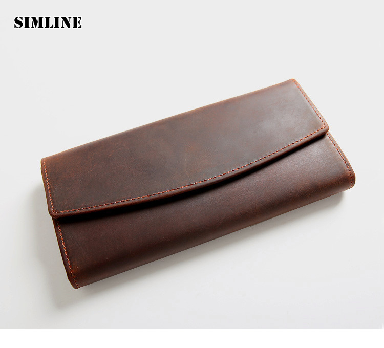 все цены на Brand Vintage Genuine Crazy Horse Leather Cowhide Men Men's Long Trifold Wallet Wallets Purse Card Holder Coin Pocket For Men