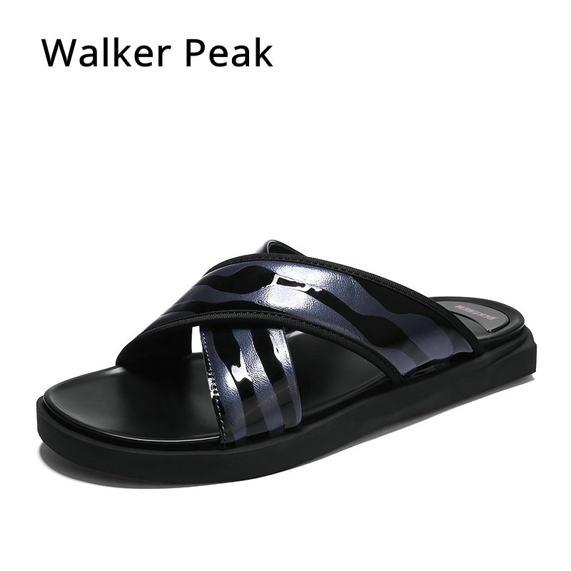 Summer Genuine Leather Men s Slippers 2018 Fashion Metal Buckle Non slip Sandals Beach Shoes for