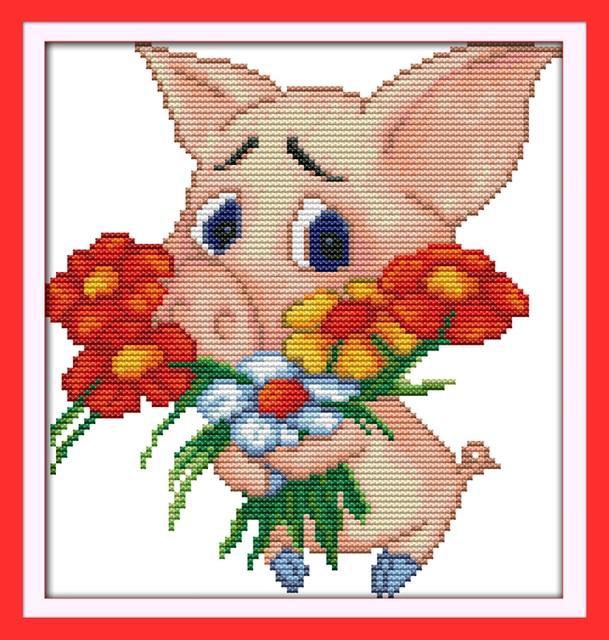 Свинья подарок букет вышивки крестом комплект 14ct 11ct граф печати холсты стежков вышивка DIY ручной рукоделие